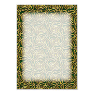 Gold And Green Celtic Spiral Knots Pattern 13 Cm X 18 Cm Invitation Card