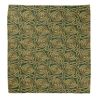 Gold And Green Celtic Spiral Knots Pattern Bandanna