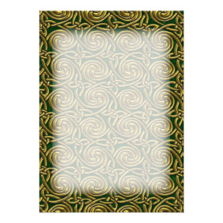 Gold And Green Celtic Spiral Knots Pattern Card