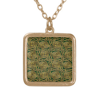 Gold And Green Celtic Spiral Knots Pattern Jewelry