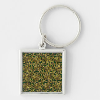 Gold And Green Celtic Spiral Knots Pattern Keychains