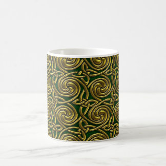 Gold And Green Celtic Spiral Knots Pattern Mugs