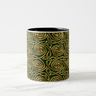 Gold And Green Celtic Spiral Knots Pattern Coffee Mugs