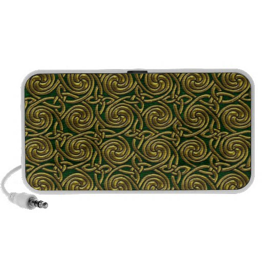 Gold And Green Celtic Spiral Knots Pattern iPod Speakers