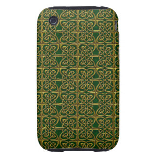 Gold And Green Connected Ovals Celtic Pattern iPhone 3 Tough Case