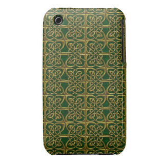 Gold And Green Connected Ovals Celtic Pattern iPhone 3 Cover