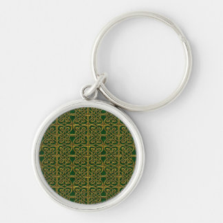 Gold And Green Connected Ovals Celtic Pattern Keychains