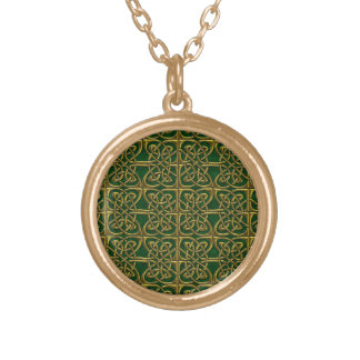 Gold And Green Connected Ovals Celtic Pattern Pendant