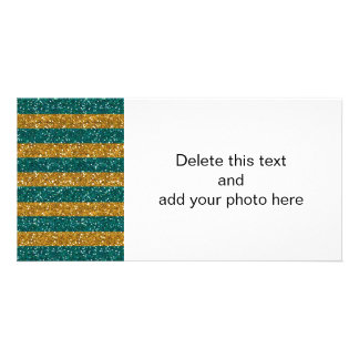Gold and Green Glitter Stripes Printed Photo Card