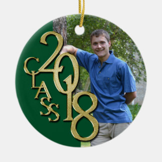Gold and Green Graduation Class of 2018 Photo Christmas Ornament