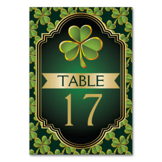 Gold and green Irish clover wedding table number Table Card