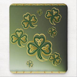 Gold and Green Shamrocks Mousepads