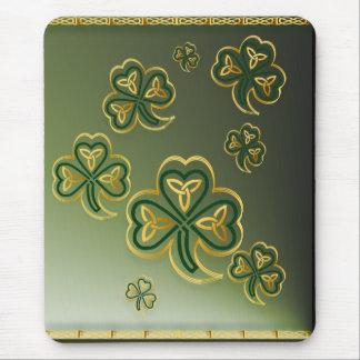 Gold and Green Shamrocks Vertical Mousepads