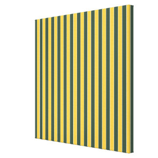 Gold and Green Stripes Stretched Canvas Prints