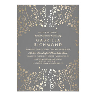 Gold and Grey Baby's Breath Bridal Shower Card