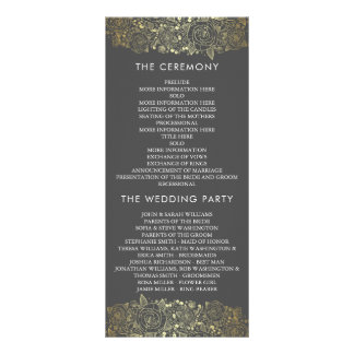 Gold and Grey | Chic Floral Wedding Program Rack Card