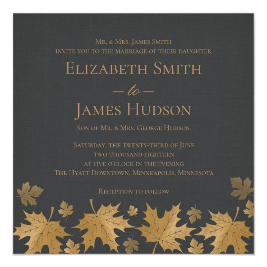 Gold and Grey Fall Leaves Wedding Invitation