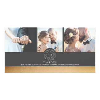 Gold and Grey Floral Photo Wedding Thank You Card