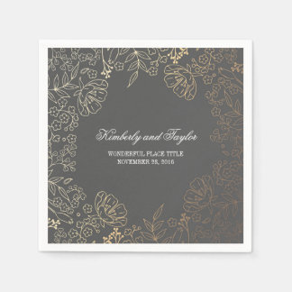 Gold and Grey Floral Vintage Wedding Paper Napkin