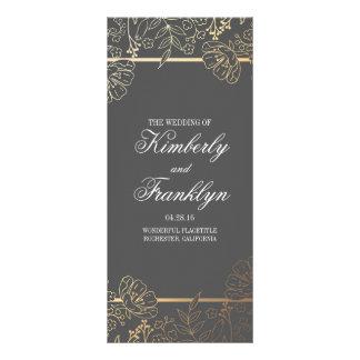 Gold and Grey Vintage Floral Wedding Programs Rack Card