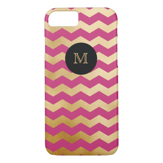 Gold and hot pink chevron Phone case