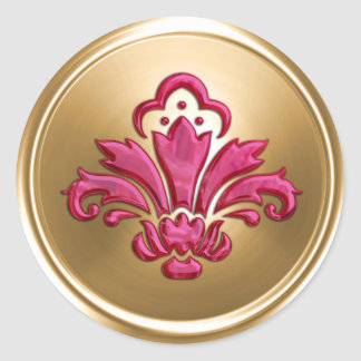 Gold and Hot Pink Fleur de Lis Envelope Seal Round Sticker