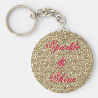 Gold and Hot Pink Glitter Sparkle and Shine Key Ring