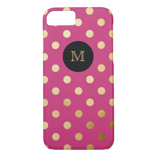 Gold and hot pink Polka Dot Phone case