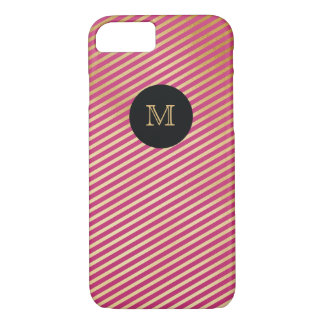 Gold and hot pink striped Phone case