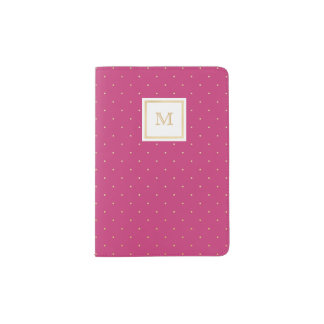 Gold and hot pink Tiny Polka Dot Passport Holder