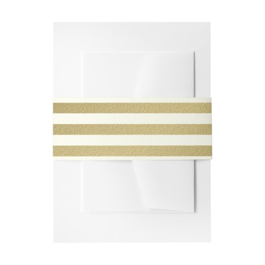 Gold and Ivory Bold Stripe Invitation Belly Band