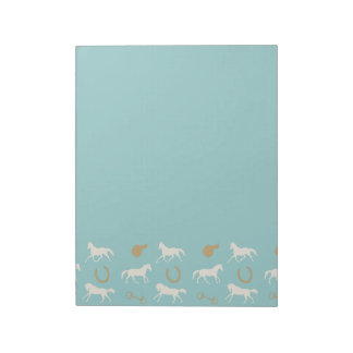 Gold and Ivory English Horses Pattern Notepad
