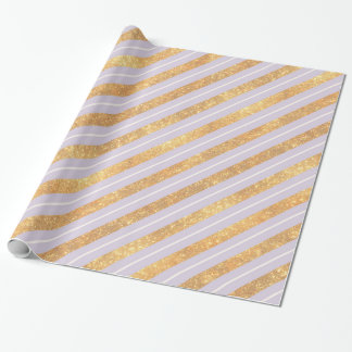 Gold and Lavender Diagonal Stripes Pattern Wrapping Paper