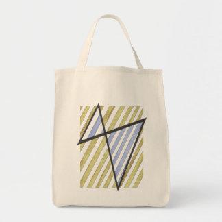 Gold and Lavender Stripes Motif Bag