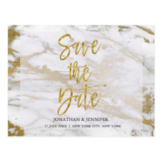 Gold and Marble Elegant Save the Date Card