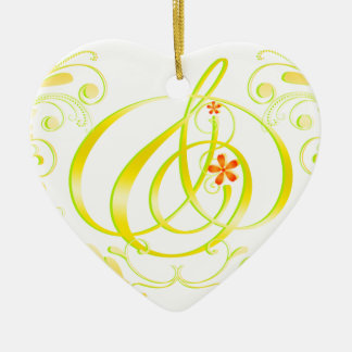 Gold and mark leaf initial heart ornament