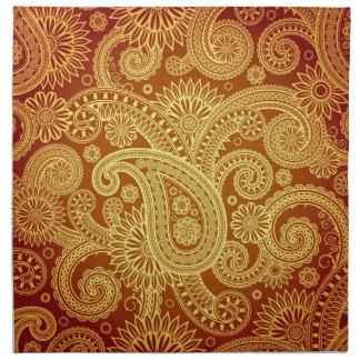Gold and Maroon Paisley Print Napkin Set