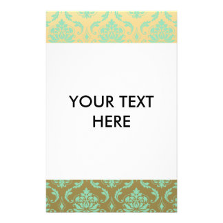 Gold and Mint Classic Damask 14 Cm X 21.5 Cm Flyer