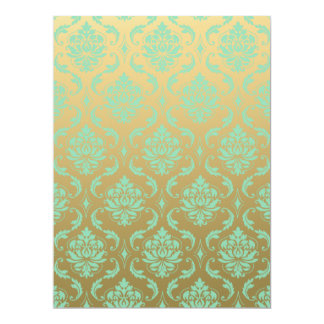 Gold and Mint Classic Damask 17 Cm X 22 Cm Invitation Card
