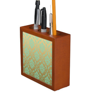 Gold and Mint Classic Damask Desk Organiser
