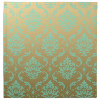 Gold and Mint Classic Damask Napkin