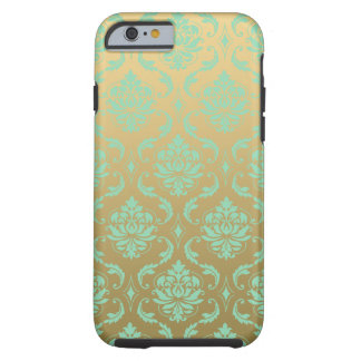 Gold and Mint Classic Damask Tough iPhone 6 Case