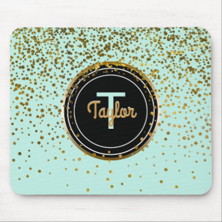 Gold and Mint Glam Confetti Dots | Green Monogram Mouse Mat