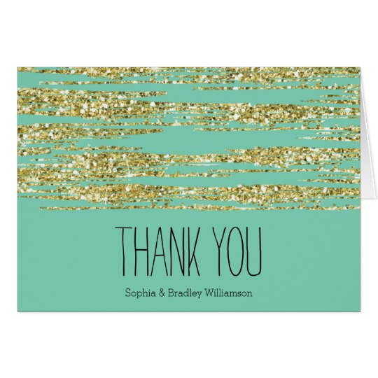 Gold and Mint Glitter Stripes Thank you Card