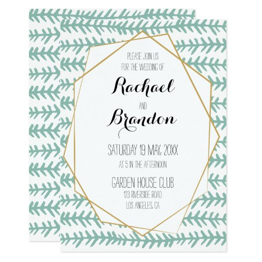 Gold and mint green Wedding invitation suite