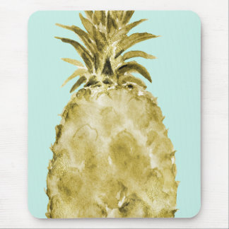 Gold and Mint Watercolor Pineapple Mouse Mat