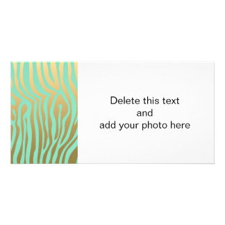 Gold and Mint Zebra Stripes Pattern Personalized Photo Card