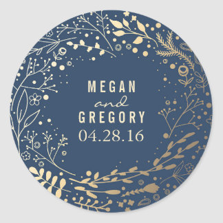 Gold and Navy Baby's Breath Floral Bouquet Round Sticker