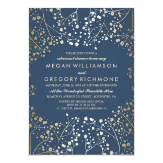 Gold and Navy Baby's Breath Rehearsal Dinner 13 Cm X 18 Cm Invitation Card