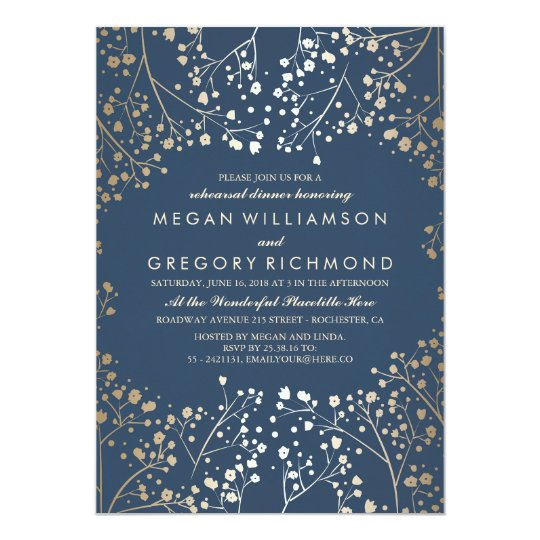 Gold and Navy Baby's Breath Rehearsal Dinner Card